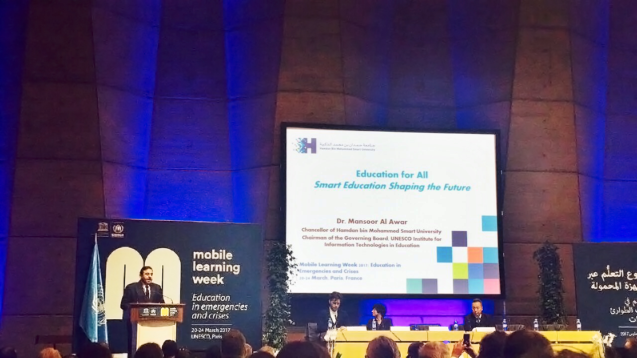HBMSU presents innovative international project for educating refugees during UNESCO's Mobile Learning Week 2017